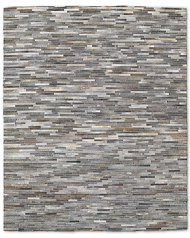 South American Cowhide Stripe Rug Grey