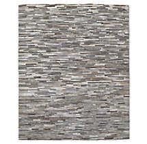South American Cowhide Stripe Rug - Grey
