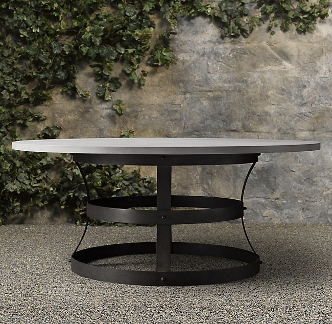 Weathered Concrete Metal Basket Round Dining Table - Concrete and metal dining table