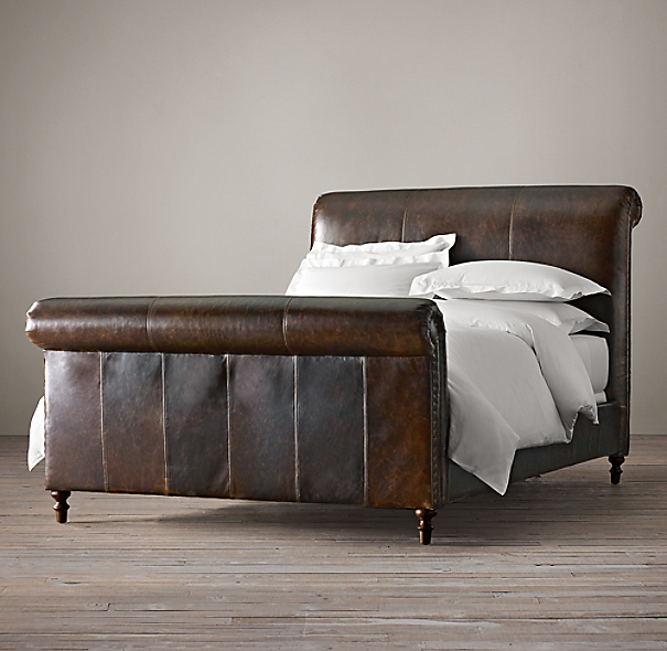 Restoration Hardware Headboards: Ellsworth Leather Sleigh Bed With Footboard