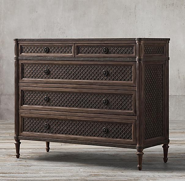 Restoration Hardware Louis Xvi Dresser: Louis XVI Treillage 5-Drawer Dresser