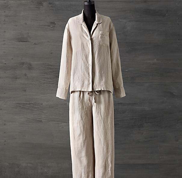stonewashed belgian linen pajamas
