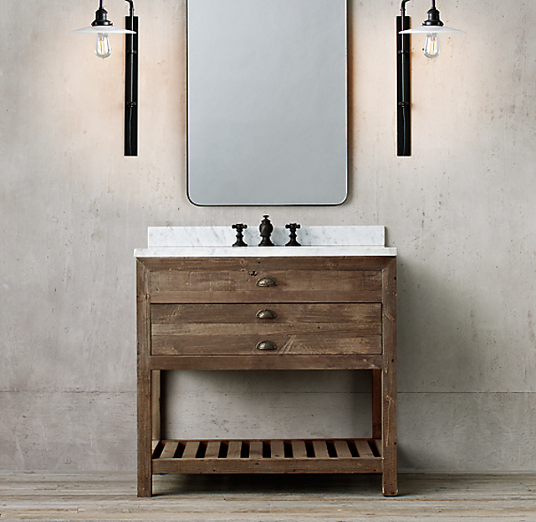 Restoration Hardware Bathroom Vanity Knockoff: Printmaker's Single Washstand