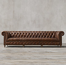 10' Cambridge Leather Sofa