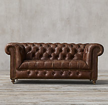 "76"" Cambridge Leather Sofa"