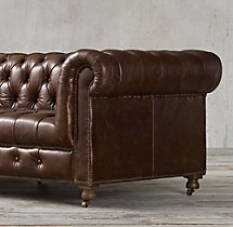 "98"" Cambridge Leather Sofa"