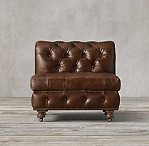 Cambridge Leather Armless Chair