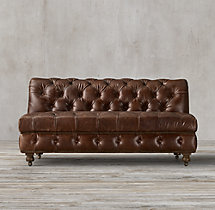 Cambridge Leather Armless Sofa