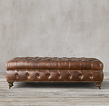 Cambridge Leather Coffee Ottoman