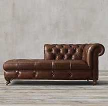 Cambridge Leather Left-Arm Chaise