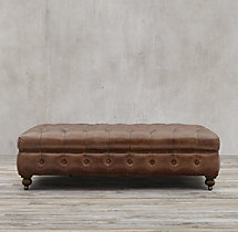 Cambridge Leather Ottoman