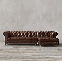 Preconfigured Cambridge Leather Right-Arm Chaise Sectional