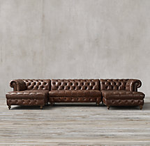 Preconfigured Cambridge Leather U-Chaise Sectional
