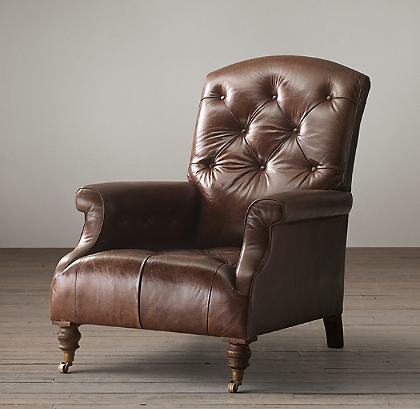 Restoration Hardware Leather Chair: Diplomat Leather Club Chair