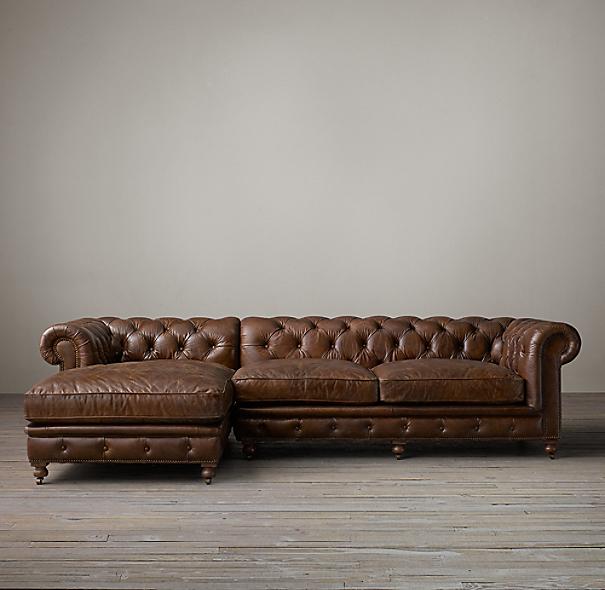 Kensington Leather Left-Arm Sofa Chaise Sectional