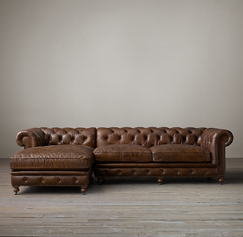 3 Depths Kensington Leather Left Arm Sofa Chaise Sectional
