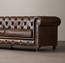 "120"" Petite Kensington Leather Sofa"