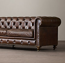 "108"" Petite Kensington Leather Sofa"