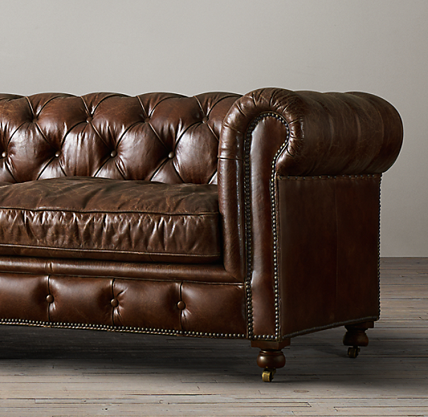Restoration Hardware Leather : Petite kensington leather sofa