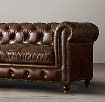 "96"" Petite Kensington Leather Sofa"