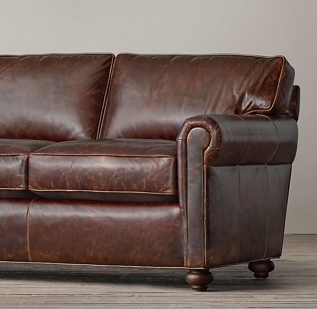 """112"""" Petite Original Lancaster Leather Sofa"""