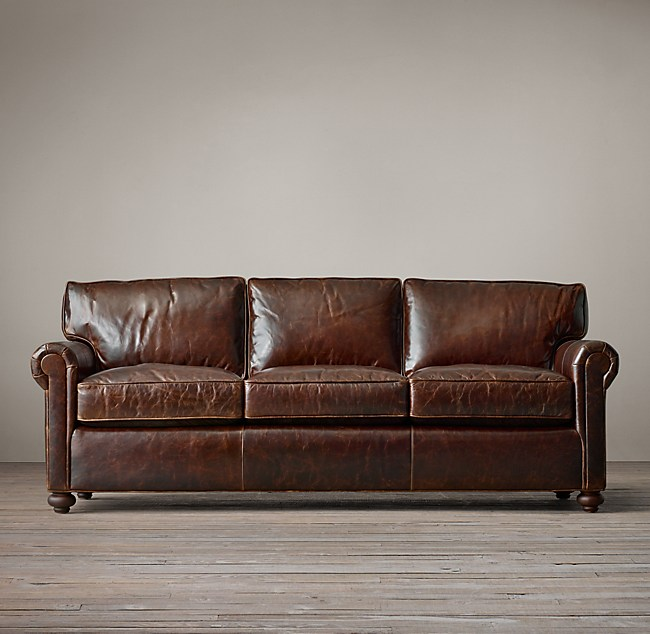 Lancaster sofa traditional lancaster leather sofa and for Who manufactures restoration hardware furniture
