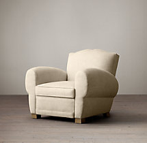 1940s French Upholstered Mustache Club Chair