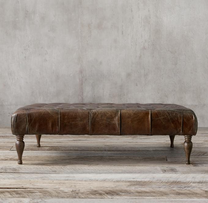 Bennett Square Leather Ottoman