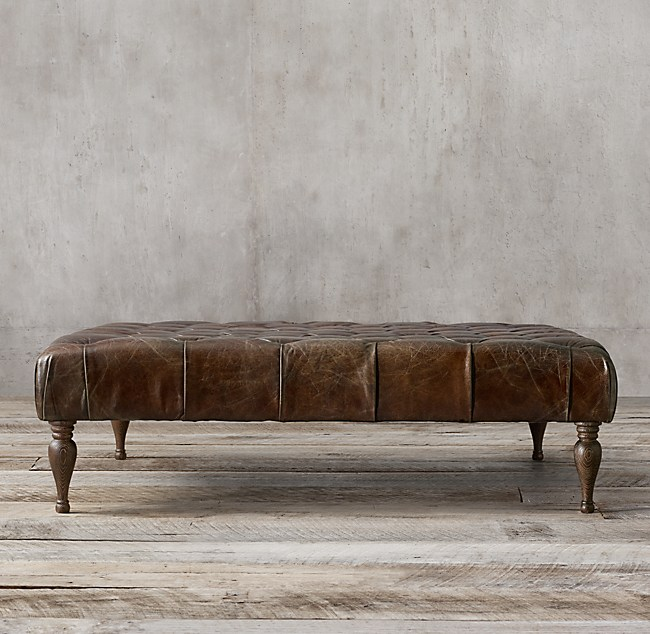 53 Quot Bennett Square Leather Ottoman