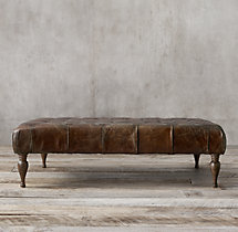 "53"" Bennett Square Leather Ottoman"