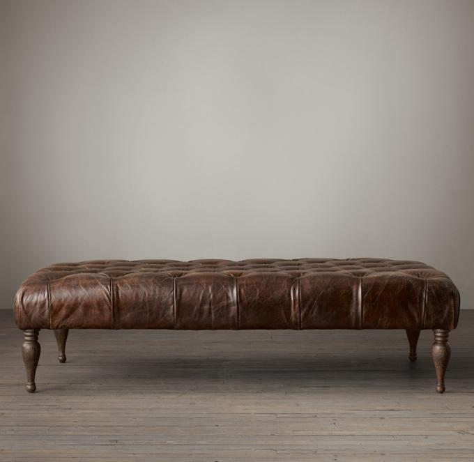 Bennett Rectangular Leather Ottoman