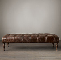 "60"" Bennett Rectangular Leather Ottoman"