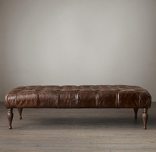 60 Quot Bennett Rectangular Leather Ottoman
