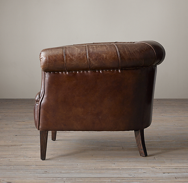 1930s English Tufted Leather Tub Chair Color Preview Unavailable Alternate View 1 2