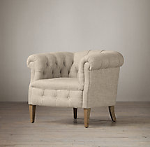 1930s English Tufted Upholstered Tub Chair