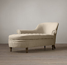 French Victorian Upholstered Left-Arm Chaise