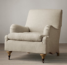 19th C. English Roll Arm Upholstered Chair