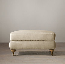19th C. English Roll Arm Upholstered Ottoman