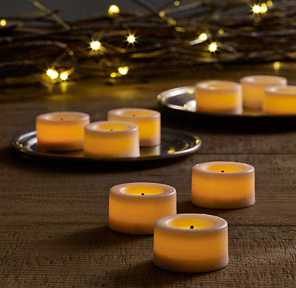 battery operated wax flameless tea lights set of 9 1 diam. Black Bedroom Furniture Sets. Home Design Ideas