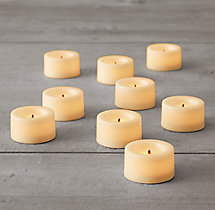 Battery-Operated Wax Flameless Tea Lights (Set of 9)
