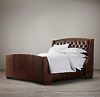 Warner Tufted Leather Bed With Footboard With Nailheads