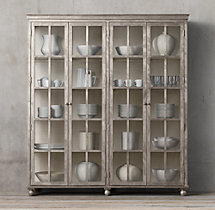 Annecy Metal-Wrapped 4-Door Glass Cabinet