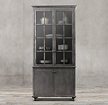 Annecy Metal-Wrapped Glass Double-Door Sideboard & Hutch