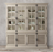 Shutter 4-Door Sideboard & Glass Hutch