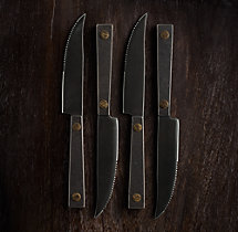 Hammered Steel Rivet Steak Knives (Set of 4)