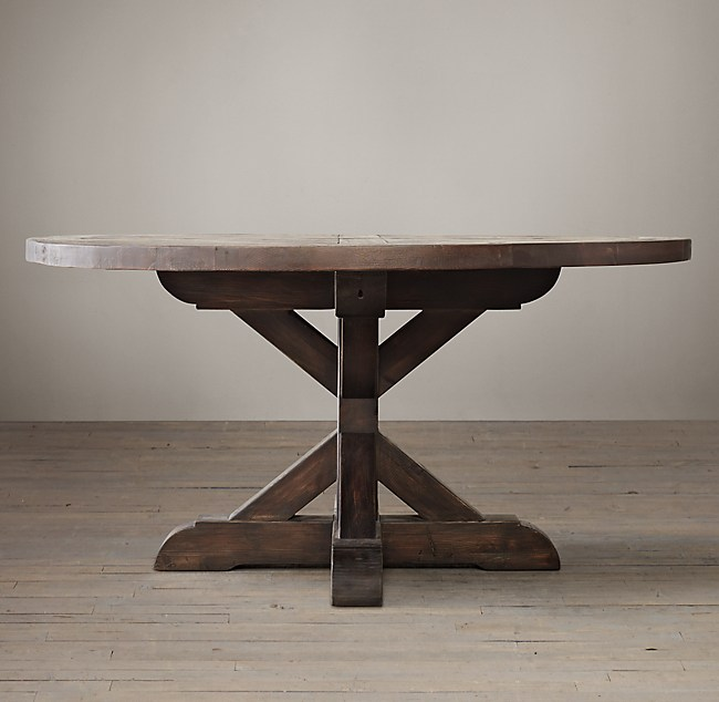 Wood X Base Round Dining Table