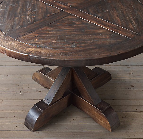 salvaged wood x base round dining table. Black Bedroom Furniture Sets. Home Design Ideas