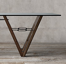 Reclaimed Wood & Glass V-Form Rectangular Dining Table