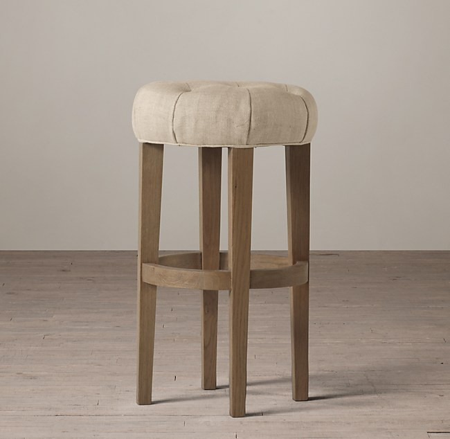 Counter Stools Restoration Hardware: Bennett Backless Fabric Stool