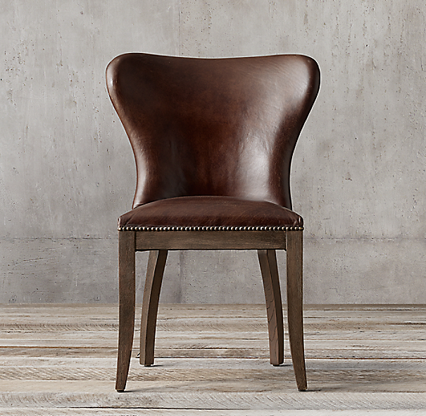 1940s Wingback Leather Side Chair